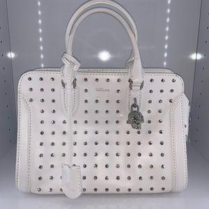 Alexander McQueen white studded satchel bag